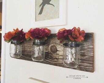SALE - Mason jar decor - rustic decor - farmhouse decor - mason jar wall decor - barn wood