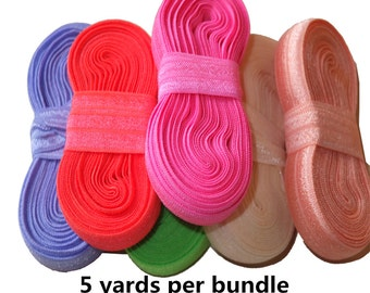 5 yards /bundle Fold Over Elastic ,5/8'' FOE  Elastic ribbon  DIY material Headband  Hair ties Hair band  84 colors Available,U Pick Colors
