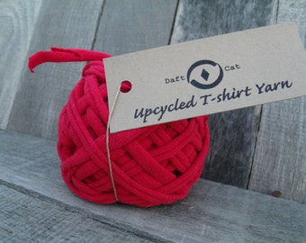 Upcycled Tshirt Yarn  RED ~ 27.5 YRDS