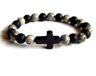 Bracelet with natural pearl black lava and jasper with one cross