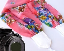 Camera strap scarf with colorful flowers. Pink Camera Strap DSLR. Floral camera strap. Etsy Finds by InTePro