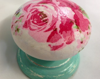 Large pink rose  turquoise stem wooden cupboard knobs handles and drawer pulls