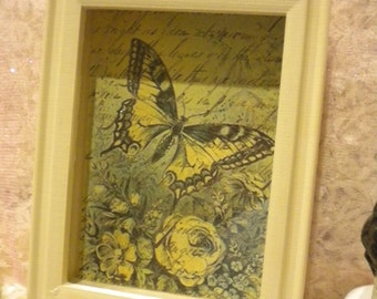 Shabby Chic Wood Shadow Box Vintage Butterfly