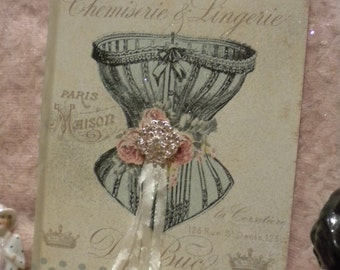 Shabby Chic Altered Journal Vintage French / Paris Corset