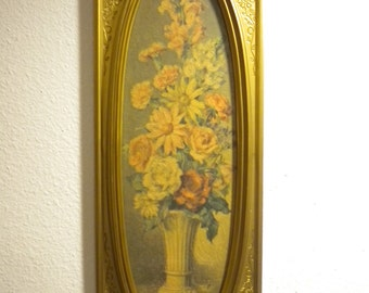 Vintage Ornate Gold Victorian Style Syroco  Wall Plaque, Hollywood Regency, signed Cecil Rubino, 1960's