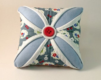 Vintage Style Cathedral Window Pin Cushion in blue and peach