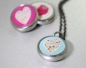 kids necklace, kids jewelry, heart charm, photo jewelry, kids accessories, pendant, interchangeable