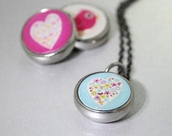 kids necklace, kids jewelry, heart charm, blue heart/flowers, #12, photo jewelry, kids accessories, pendant, interchangeable