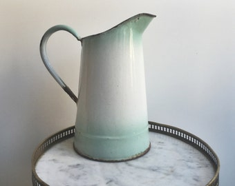 Pitcher - French vase - French vintage pitcher - French large pitcher - French enamel pitcher - vintage vase - French enamelware