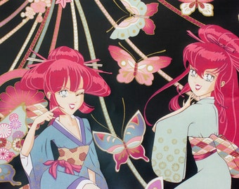Miss Butterfly Anime pink and black cotton fabric, by Alexander Henry