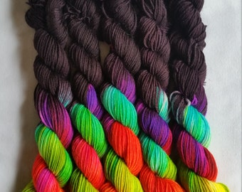 The Brightest Rainbow Mini Skein (available on black or white)