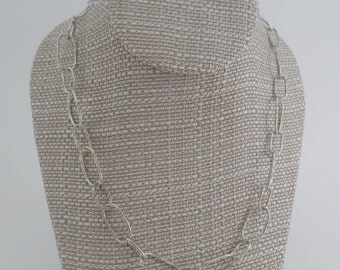 Hand madehammered sterling chain necklace