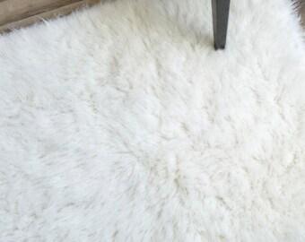 Flokati Area Rug, 9ft x 12ft, White, 100% Wool Shag Rug