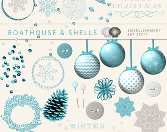 TURQUOISE CHRISTMAS - 54 embellishments for Holidays/Winter in turquoise & taupe, printable clip art, instant download, 300 dpi, PNG - 287