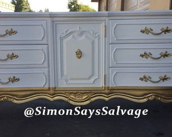 White and Gold French Provincial Dresser, Nightstands, Changing Table, Buffet, Credenza, bedroom furniture