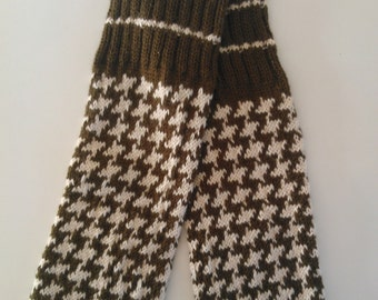 Hand knitted Leg Warmers. Wool blend. Green/Ivory craftsdk ! All sizes, good idea for gift!