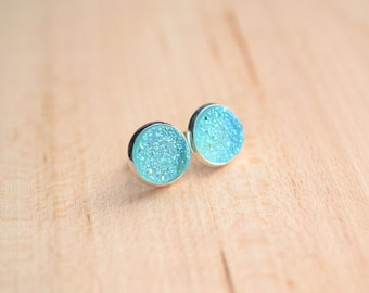 Aqua Druzy Earrings - Blue Druzy Earrings - Chalcedony blue Druzy Earrings - Post earrings - Light Blue Druzy - Sparkle earrings  Post Druzy