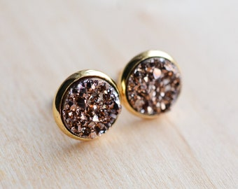 Rose Gold Druzy Earrings - Brown Druzy Earrings - Tan Druzy Earrings - Rose Gold earrings - Gold druzy earrings - Druzy Post Earrings