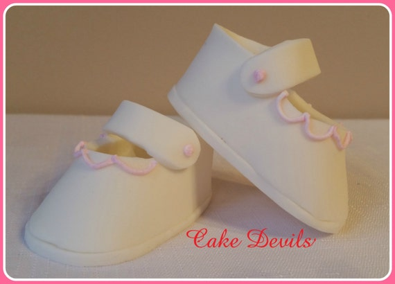 Fondant Baby Booties, Baby Shower, Handmade  Cake Topper