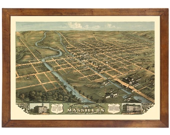 Massillon, OH 1870 Bird's Eye View; 24x36 Print from a Vintage Lithograph