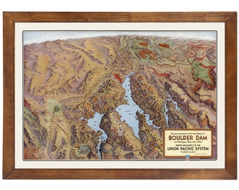 Boulder Dam Bird's Eye View ... Published in 1935; 24x36 Print on Photo Paper