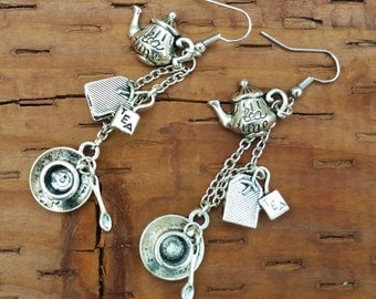 TEA TIME Dangle Earrings Alice in Wonderland inspired!