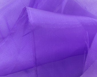 """FC11987      Mirror Organza Purple #LC-35 Shimmering sheer Fabric 60"""" By The Yard"""