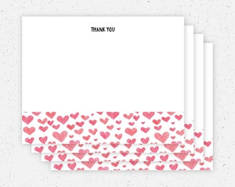 Hearts Thank You Note Cards - Set of 4
