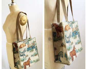 Horse print tapestry tote bag with change purse.