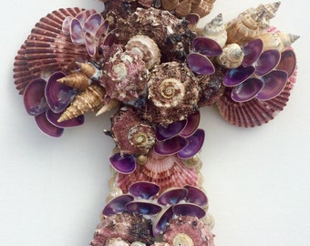 Purple Seashell Cross, Handmade Cross, Sea Shell Cross, Wedding Gift