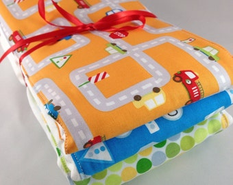 Burp cloths, cars, transportation, baby shower, baby boy