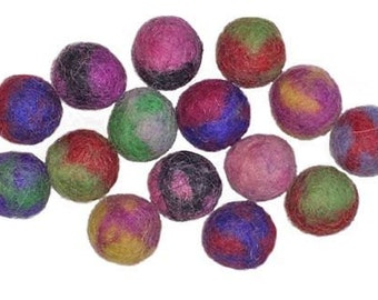 Small 1.5cm Two-tone Wool Felt Beads - pack of 15