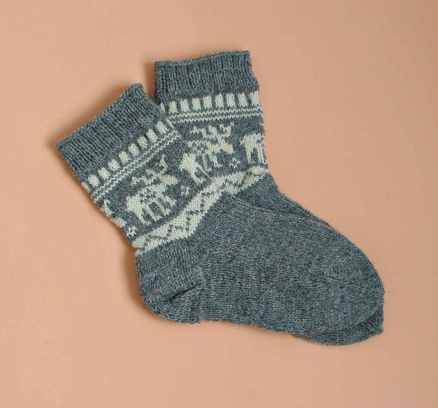 Woolen Knitting Patterns : Hand knit wool socks: Deer pattern socks Moose pattern socks