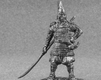Metal Toy Soldiers Japanese Samurai with Naginata 13th Century Unpainted 1/32 Scale 54mm Tin Metal Miniature Antique Action Figure