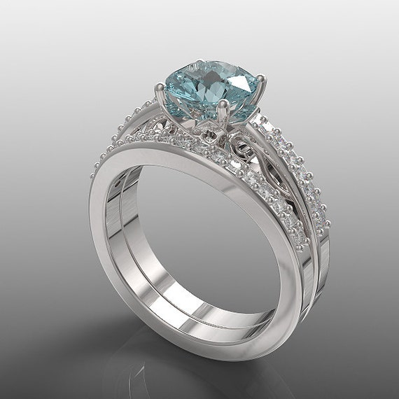14k white gold engagement ring and wedding band set for