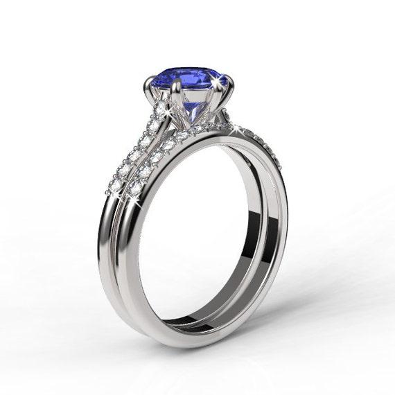 14k white gold wedding band and engagement ring set tanzanite