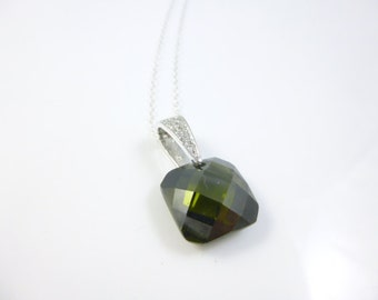Single Stone Necklace, Green Square Pendant Necklace,  CZ Emerald Necklace