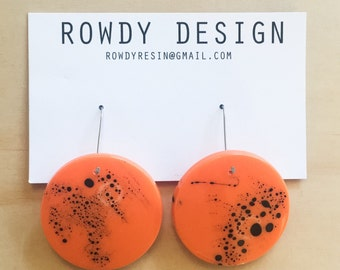 Small Round Disc Resin Dangle Earrings - Orange with Black Speckle