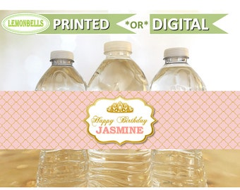 Princess Water Bottle Labels, Princess Baby Shower Water, Princess Party Water Bottle, Pink and Gold Water Bottle, Princess Birthday  WP08
