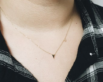 14KT Gold Arrow and CZ Necklace