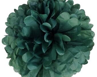Evergreen Tissue Paper Pom, Evergreen Pom, Evergreen Tissue Paper Pom, Dark Green Pom, Tissue Flower, Wedding and Birthday Decor