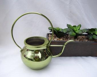 Green Metal Watering Can Circular Handle Made By Teleflora Shiny Green Watering Can