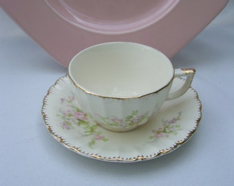 Pastel Floral with Gold Accents Teacup and Saucer Set