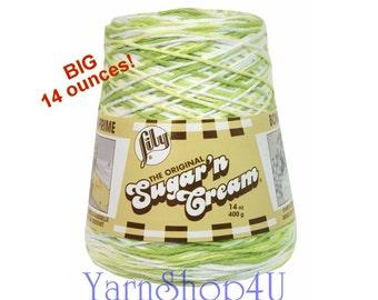 14oz KEY LIME PIE Sugar N Cream yarn Cotton Yarn, Cotton Cone Yarn, Green variegated Cotton Yarn, Lily Sugar N Cream cotton yarn Lily