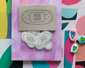 Heal over Harm Temporary Tattoo | Self-Harm Prevention | Self-Care Temporary Tattoos | Band-Aid Tattoos | Self-Help | Mental Health