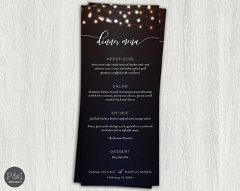 String of Lights Rehearsal Dinner Menu / DIY/ Customized Printable (3.6667 x 8.5)