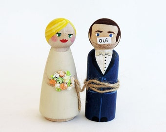 Wedding cake toppers humorous - Couple Cake Topper wood marriage - to personalize A