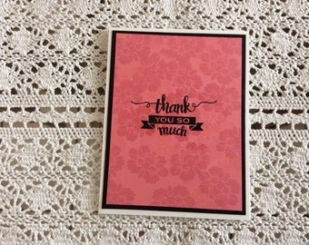 Handmade Greeting Card:  Thank you card. Pink and black. White card base