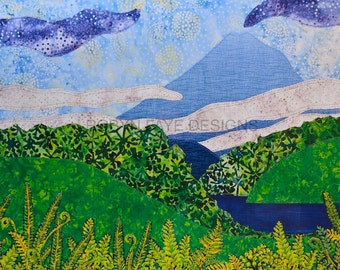 Fabric landscape print, mountain art, NZ bush ferns, batik picture, nature countryside, fibre art, Taranaki landscape
