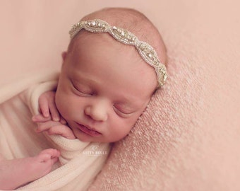 Ophelia Tieback, Princess Tieback, Crystal Tieback, Rhinestone Headband, Newborn Baby Headband, Photo Prop, UK Seller